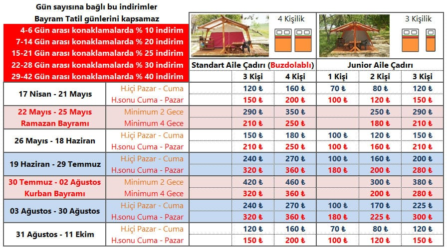 Dama Kamp Alanı Konaklama Fiyatları